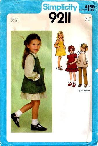 - Simplicity 9211 Girls Dress, Pinafore, Jumper and Pants Sewing Pattern, Vintage 1979