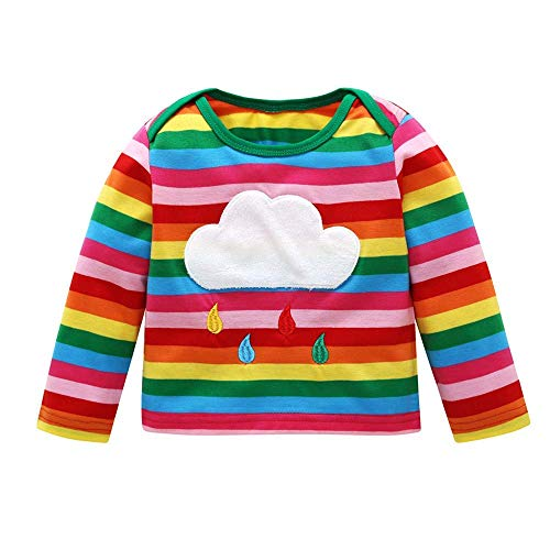 Toddler Baby Girls Boys Rainbow Clothes Kid Long Sleeve Romper Baby Striped Tee Top (Toddler Baby Girls Boys Rainbow Clothes, 2-3 T)