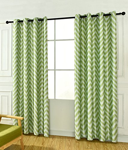 Zihuatailor Blackout Micro Chevron Curtains: 1 P of L96 x W52 - Green Geometric Pattern Grommet Curtains (Curtains Pattern Chevron)