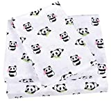 Scientific Sleep Cute Panda Cotton Cozy Twin Bed Sheet Set, Flat Sheet & Fitted Sheet & Pillowcase Natural Bedding Set (13, Twin)