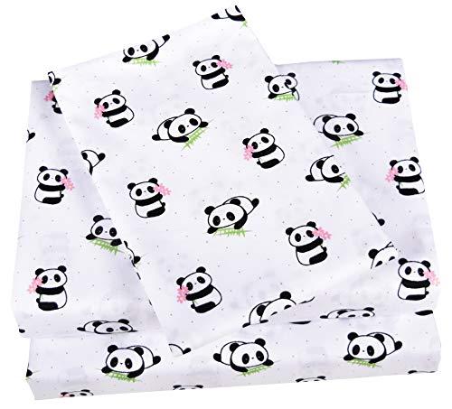Scientific Sleep Cute Panda Cotton Cozy Twin Bed Sheet Set, Flat Sheet & Fitted Sheet & Pillowcase Natural Bedding Set (13, -