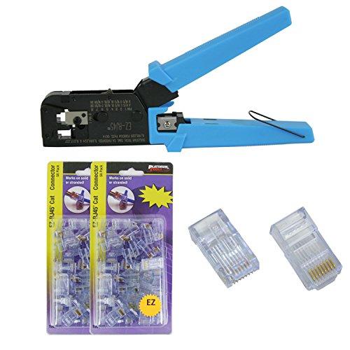 Platinum Tools 100004C EZ-RJ45 Crimper with 2x Jar EZ-RJ45 Cat5/5e 50 Connectors