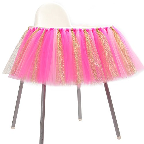 Wedding Party Favor Tulle (Adeeing High Chair Decoration Favor Baby Shower Party Decoration Tulle Table Skirts Cover Table Cloth for Girl Princess Party, Wedding, Birthday 36x14inches Rose Red)