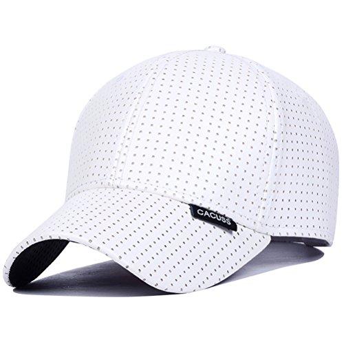 CACUSS Men's Cotton Classic Baseball Cap Adjustable Buckle Closure Dad Hat Sports Golf Cap (B0170_White)