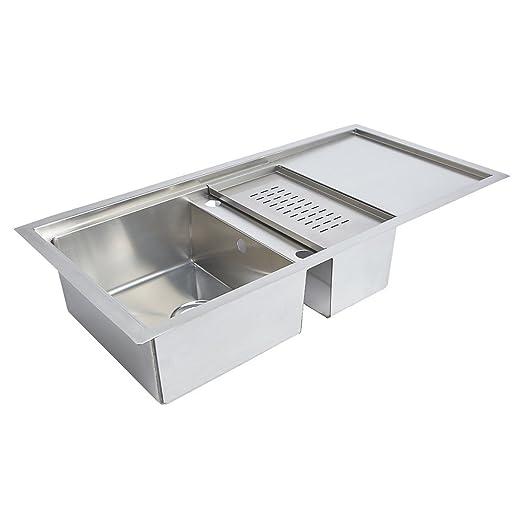 jianmen kitchen sink  u0026 drainer stainless steel 1  5 bowl 1000 x 500mm jianmen kitchen sink  u0026 drainer stainless steel 1  5 bowl 1000 x      rh   amazon co uk