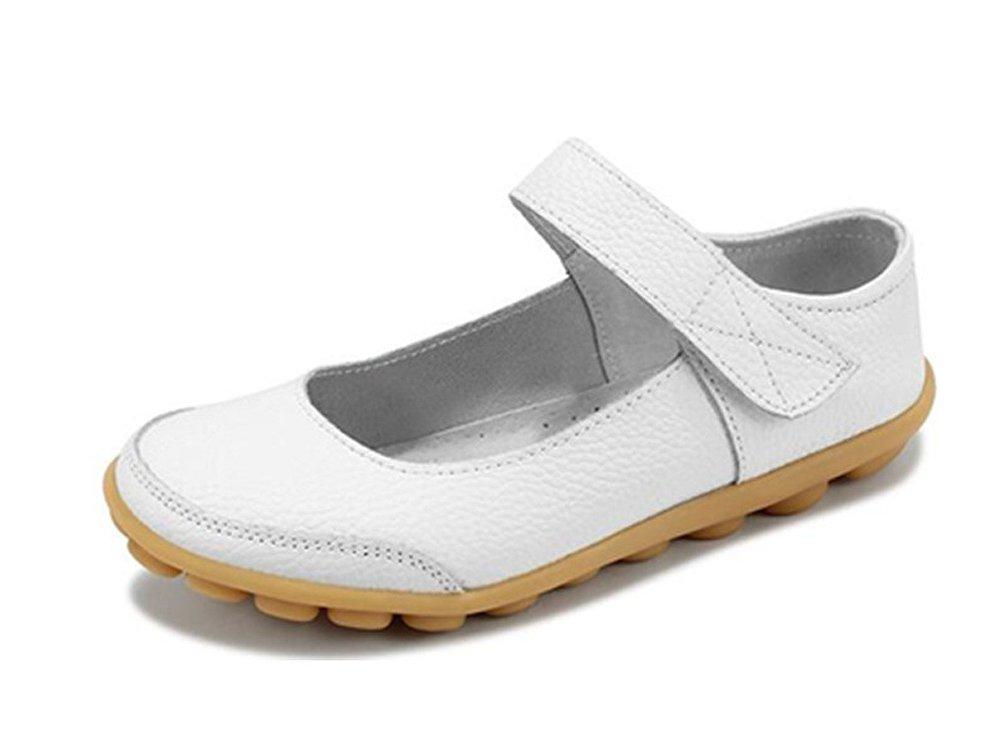 Donna Scarpe da Barca Mocassini Pantofole Pelle Tacco Basso Sandali Singoli Pattini Casuali Bianco