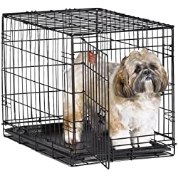 "New World 24"" Folding Metal Dog Crate, Includes Leak-Proof Plastic Tray; Dog Crate Measures 24L x 18W x 19H Inches, For Small Dog Breed"