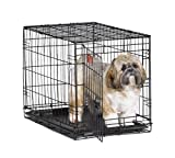 "MidWest 24"" iCrate Folding Metal Dog Crate w/ Divider Panel, Floor Protecting ""Roller"" Feet & Leak-Proof Plastic Tray; 24L x 18W x 19H Inches, Small Dog Breed"