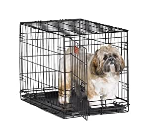 "MidWest iCrate 24"" Folding Metal Dog Crate w/ Divider Panel, Floor Protecting ""Roller"" Feet & Leak-Proof Plastic Tray; 24L x 18W x 19H Inches, Small Dog Breed"