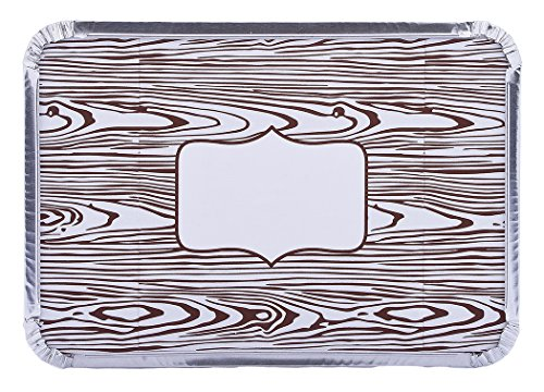 Simply Baked Medium Baking and Take-out Pan, Disposable, Oven & Freezer Safe Foil Pan with Paper Lid (pack of 6), Faux Wood Grain Print Lid, 8.5