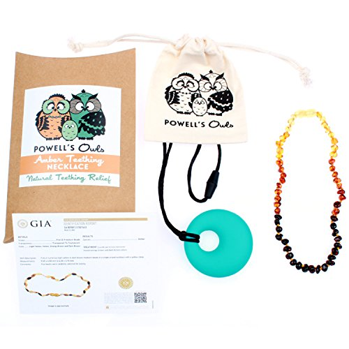 Baltic Amber Teething Necklace Gift Set + FREE Silicone Teething Pendant ($15 Value) Handcrafted, 100% USA Lab-Tested Authentic Amber - All Natural, Teething Pain Relief (Polished Rainbow - 12.5'') by Powell's Owls