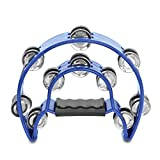 Flexzion Half Moon Musical Tambourine (Blue) Double Row Metal Jingles Hand Held Percussion Drum for Gift KTV Party Kids Toy with Ergonomic Handle Grip