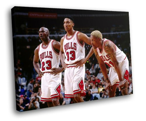 - H5D9387 Chicago Bulls Legends Jordan Pippen Rodman 20x16 FRAMED CANVAS PRINT