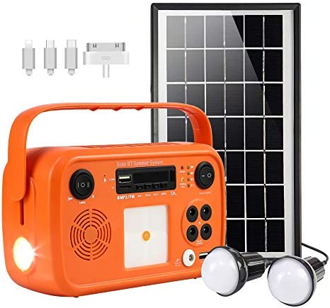 soyond Portable Solar Generator with Solar Panel Solar Powered Generator Kit with Flashlights Bluetooth, MP3 Player, FM Radio for Home Emergency Backup Power Camping Outage Orange Retro Style