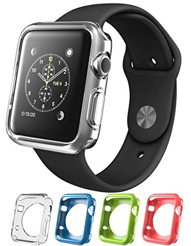 Apple Watch 4 Pack Solid Pink, Sky Blue, Lime Green & Clear Liquid Air Bumper Slim [Watch Gel Cover] Skin Protective Case Shockproof Ultra Thin Rugged Flexible Series 1, 2 & 3 Accessories (42mm Solid)