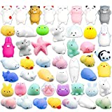 Mochi Mini Squishies, FLY2SKY 36 Pcs Random Mochi Animals Squishies Toys Soft Squeeze Toys Kawaii Squishy Cat Stress Reliever Anxiety Toys Panda Seal Polar Bear Fox Rabbit Cat Claw and More Squishies