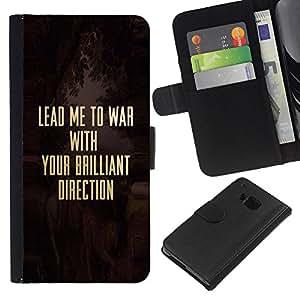 KLONGSHOP // Tirón de la caja Cartera de cuero con ranuras para tarjetas - Guerra Cristo cristiana Solider Oro texto - HTC One M7 //