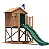 Dunster House Lil Lodge Wooden Children's Outdoor Climbing Frame Play Den Tower, Raised Playhouse with Slide - Pressure Treated Timber