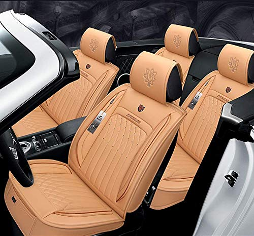 AYCYNI Easy to Clean PU Leather Car Seat Cushions 5 Seats Full Set - Anti-Slip Suede Backing Universal Fit Covers Adjustable Bench for 99% Types of Cars,Beige: Kitchen & Home