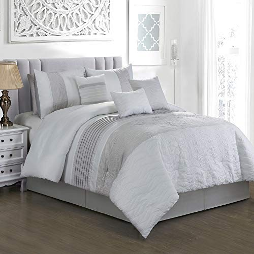 (GrandLinen 7 Piece Grey/White/Gray Pin Tuck Bed in a Bag Comforter Set (California) Cal King Size Bedding)