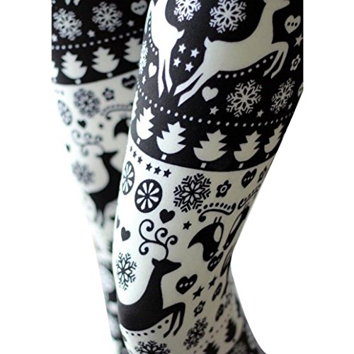 GBSELL New Women Christmas Printed Stretchy Pants Leggings Sport Casual