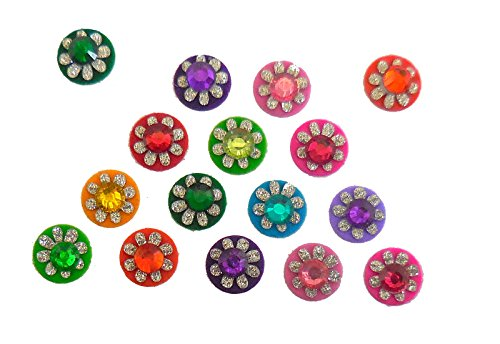 India Crafts 4 Packs - 64 Colorful Crystal Bindi Velvette round face jewels Tika -