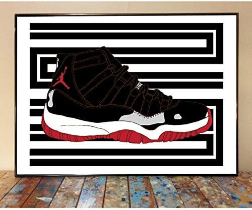 Air Jordan 11 Bred Sneaker Art Print