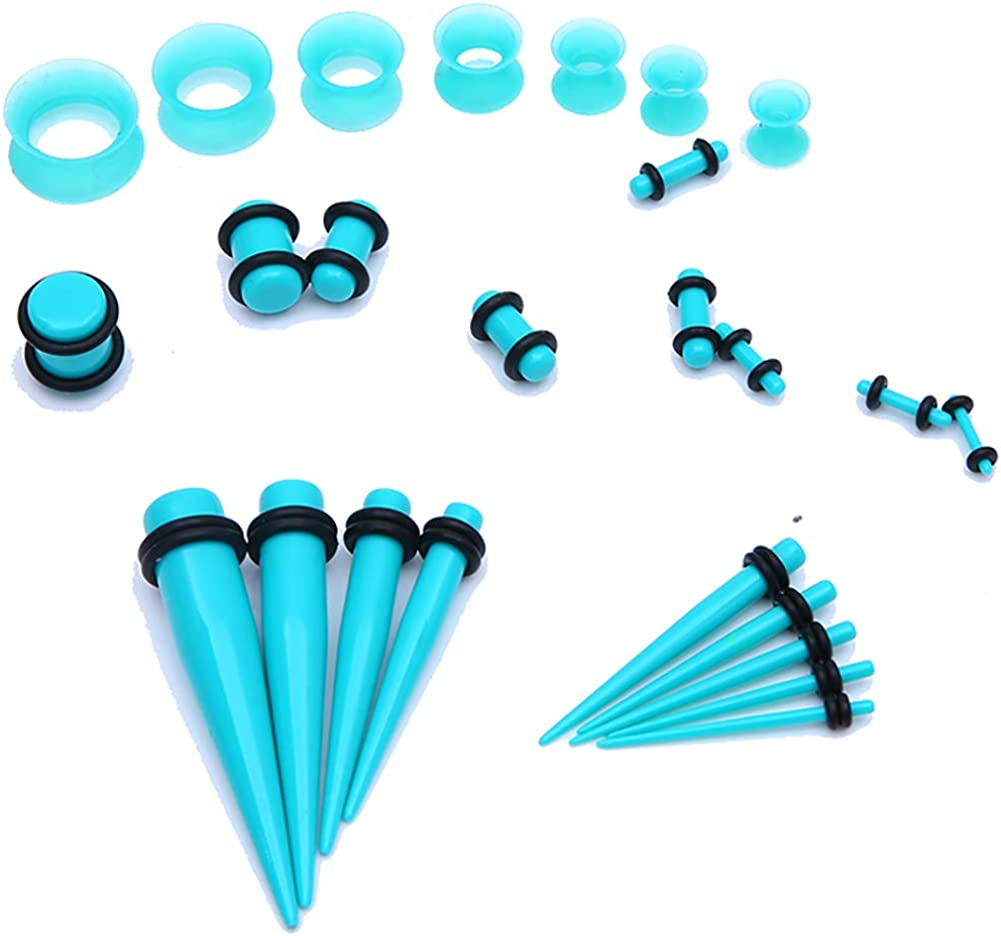 Bodystars Ear Gauges Stretching Kit 50Pcs Acrylic Tapers and Plugs Silicone Tunnels Set, Prefect for Punk,Rock,Street or Daily Black