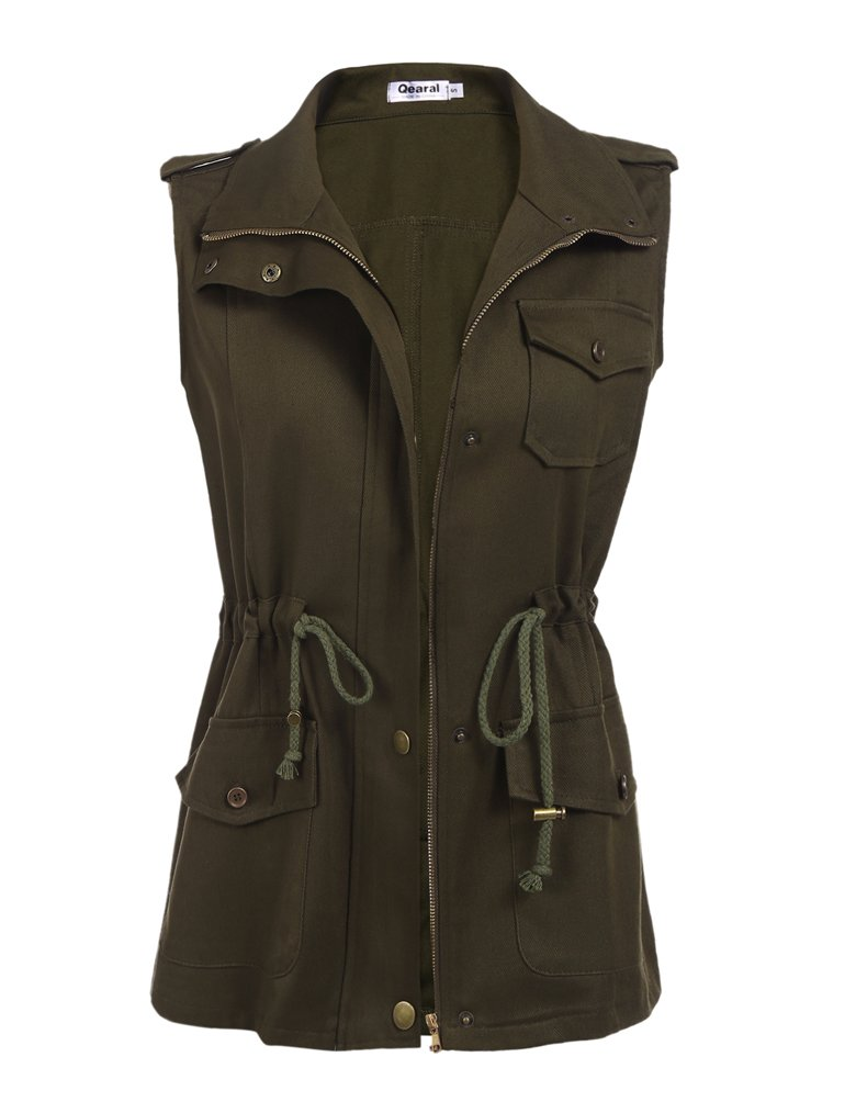 Qearal Women's Plus Size Zip Up Drawstring Anorak Jacket Military Vest w/Pockets (XXL, Army Green) by Qearal