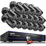 SANNCE 16CH HD 720P Security Camera System with 2TB Hard Drive and (16) 720P Superior Night Vision CCTV Cameras with P2P Technology, Motion Detection & Alarm Push, Vandal and WeatherProof Body