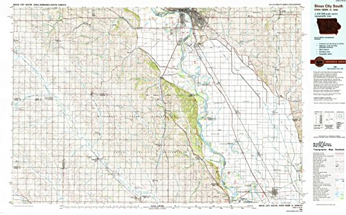 Sioux City South IA topo map, 1:100000 scale, 30 X 60 Minute, Historical, 1986, updated 1993, 24.1 x 39 IN - - Hills Macys South