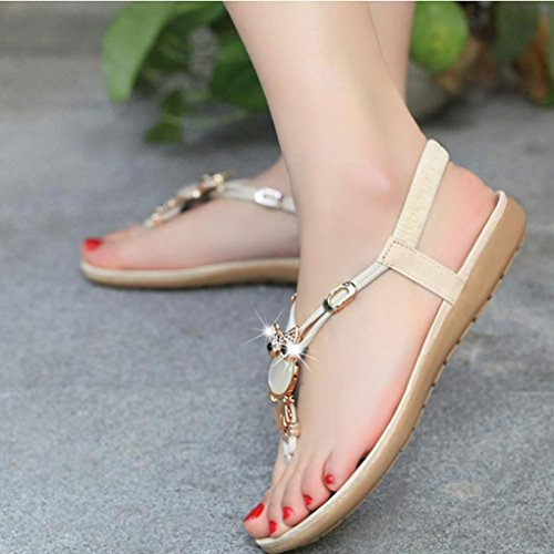 Goodsatar Mujer Lechuza de diamantes Dulce Sandalias Sandalias Toe Clip Playa Zapatos Beige