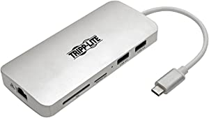 Tripp Lite USB C Docking Station w/ USB-A Hub, HDMI, SD/Micro SD, Gbe, PD Charging 4K @ 30Hz Portable Thunderbolt 3 Silver (U442-DOCK11-S)