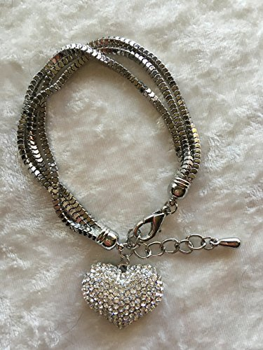 (silvertone cz heart charm on triple strand box chain bracelet)