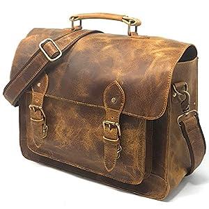 Best Epic Trends 51nh9MqtPaL._SS300_ Full Grain Leather DSLR Camera Bag, Multipurpose Real Hunter Leather 15-Inch Briefcase, Shoulder Messenger Satchel Fits…