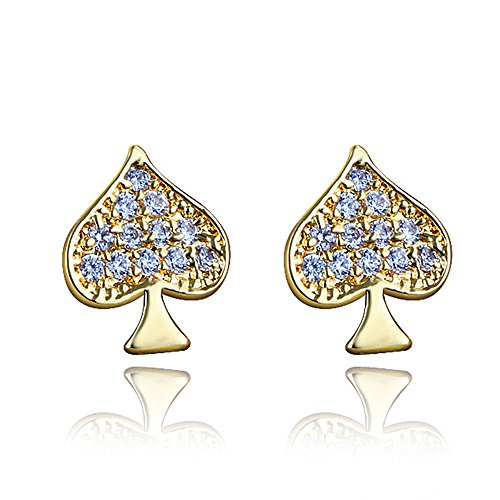 Plated Gold Overlay - Gold Plated Little Cute Fashion Queen Heart Spade Stud Earring for Girl