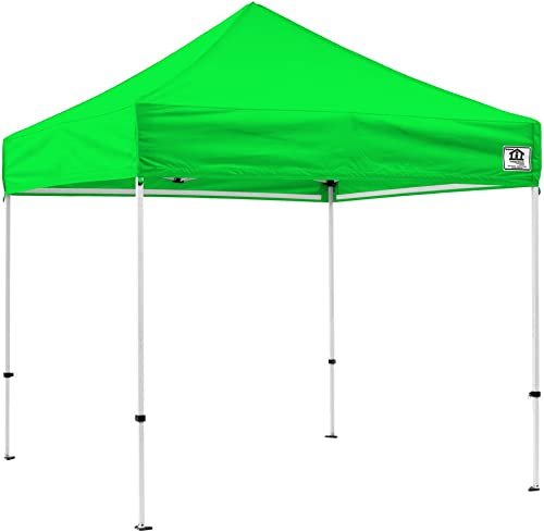 Impact Canopy 10 x 10 Pop-Up Canopy Tent, Powder-Coated Steel Frame, Straight Leg, Roller Bag, Lime Green