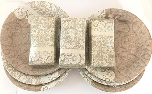 - Rustic Burlap & Lace 10.5 in plates & napkins 72 place setting, country wedding, receptions, banquets, parties, showers, teas, anniversary, birthday