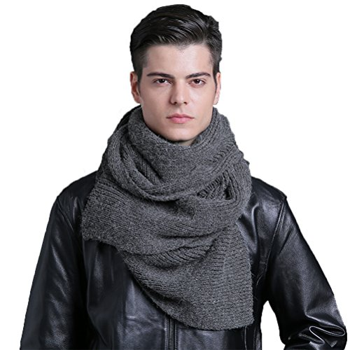 CACUSS Men's Solid Winter Scarf Long Knitted Neckwear Soft Warm Scarves(Gray) by CACUSS
