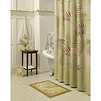 Ordinaire OTSK 1pc Light Green Brown Cream Graphical Nature Themed Shower Curtain,  Abstract Floral Pattern,