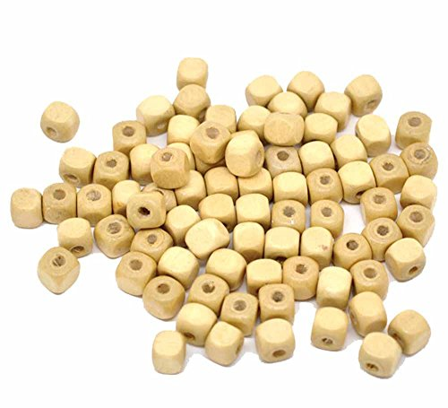 Rockin Beads 250 Square Cube Wood Spacer Beads 8mm Natural Color Coated ()
