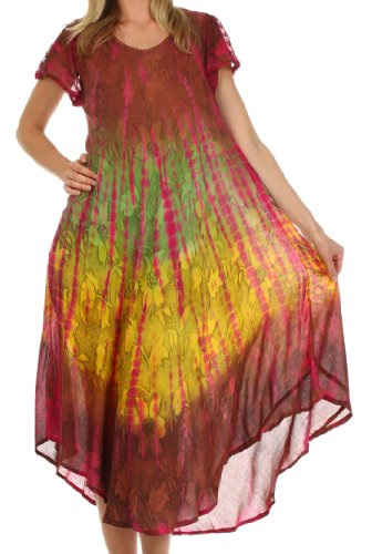 Sakkas 20831 Mika Ombre Floral Caftan Dress - Brown - One Size