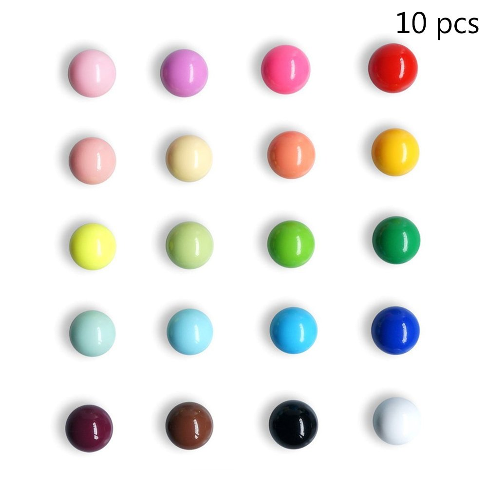 BESTOMZ Magneti calamite rotondi colorati di resina da frigo e lavagna per decorazioni 10PCS