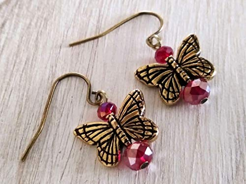 Ruby Glass Butterfly Angel Earrings 22 Kt Gold Plated Charms Handmade in the USA, Monarch Earrings, Gold Butterfly Earrings, July Birthstone Red and Gold Earrings, Antique Vintage Style (Antique Red Gold Earrings)