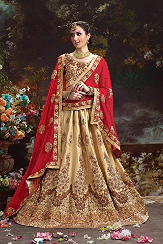 Indian Women Designer Wedding Beige Lehenga Choli Fabz-2600