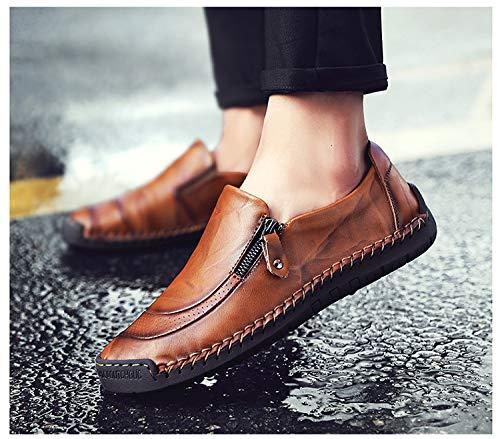 Mocasines Informal Genuino Mano tamaño Hechos cómodos Zapatos Marrón Gran a Conducción de para Cuero Hombres wzSUYfqx