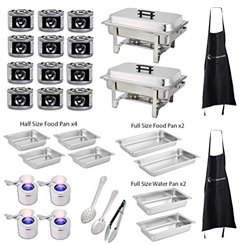 h Buffet Set. Includes 2 Full Size Chafers,2 Full Size Water Pan, 2 Full Size Food Pan, 4 Half Size Food Pans, Fuel Holders, 12 Fuel Cans, Serving Utensils+BONUS 2 FREE CHEFS APRON ()