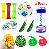 Toys : SpringFly 030 12 Pack Bundle Sensory Fidget Cube/Bike Chain/Liquid Motion Timer/Rainbow Magic Ball/Mesh and Marble Toy/Soybeans Squeeze Grape