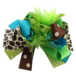 NeedyBee Green Feather Big Bow Clip Hair Accessories for Baby Girls 51nhBSd6JSL