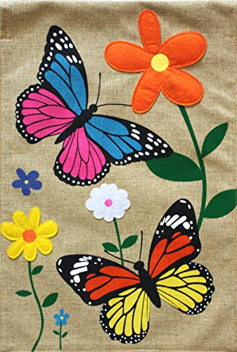 Briarwood Lane Butterfly Dance Burlap Spring House Flag Floral 28